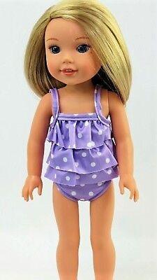 "swimwear purp polka dots 2 Pc for 14/"" Wellie Wishers American Girl doll swimsuit"