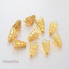 50 x Gold Tone Bead Cones Flower -  Filigree 10 x 16mm Bead Caps Iron Daisy Cap