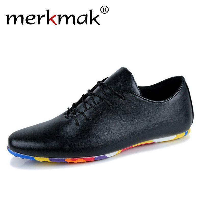 Merkmak 2016 Brand PU leather Men Flats shoes