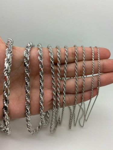 925 Argent Massif Rhodium Plaqué Blanc Twist corde chaîne