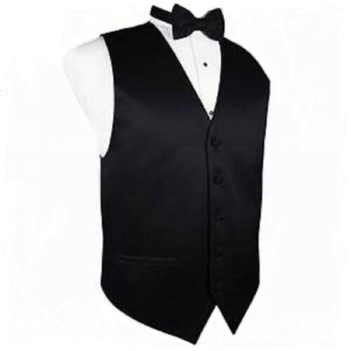 BLACK WAISTCOAT with Matching Black BOWTIE SUPERB HIGH ST QUALITY SIZE 40 M
