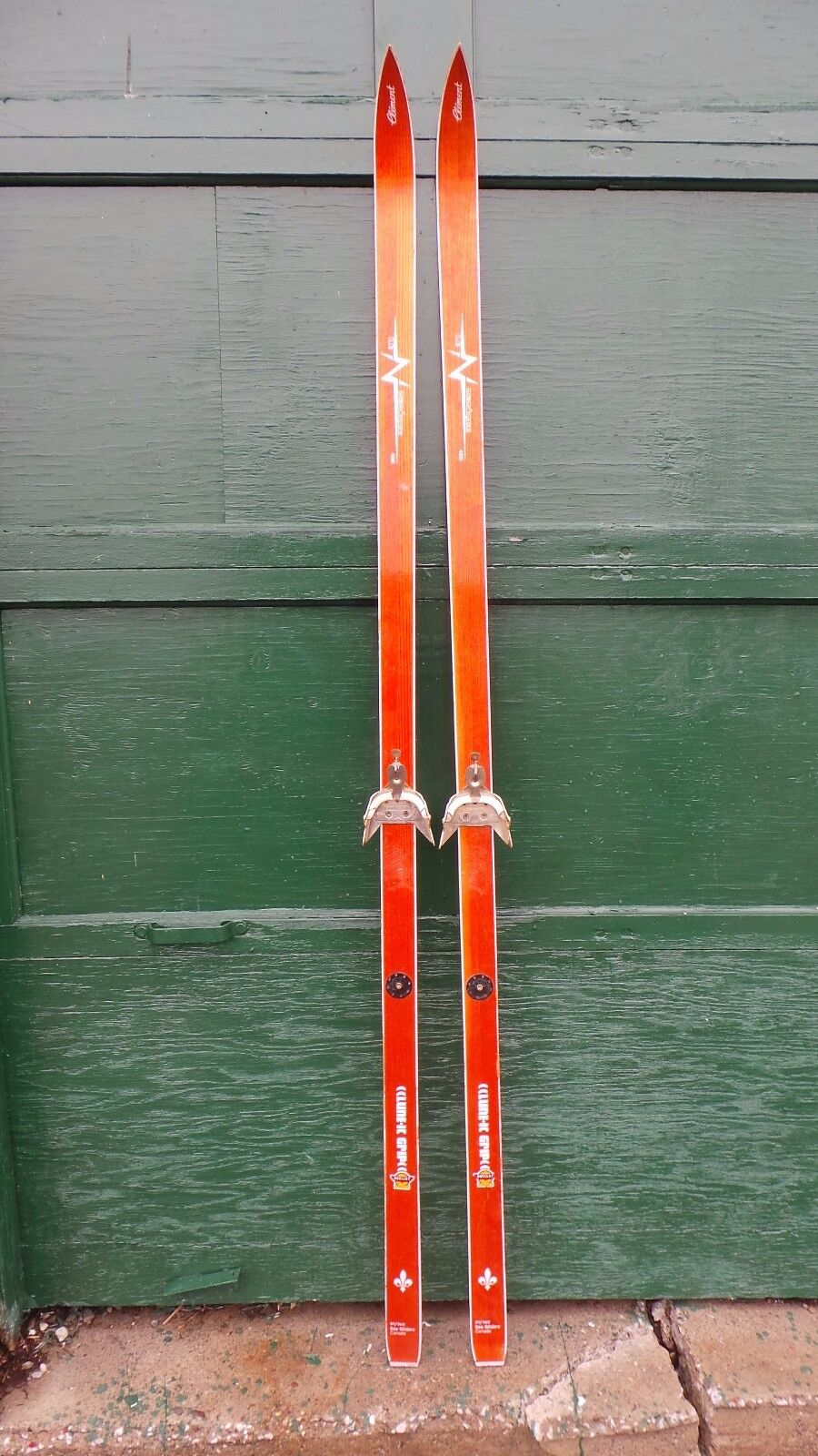Vintage Wooden Skis 76  Long with Original Finish and Signed CLEMENT