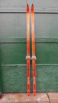 "Vintage Wooden Skis 76"" Long with Original Finish and Signed CLEMENT"