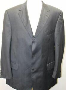 Sartoriale-Zignone-Made-In-Italy-Black-Stripe-Men-Blazer-44R-Lined-Wool-Blend
