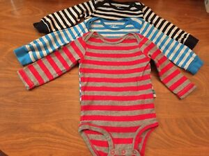 73cde536c649 Carters Lot of 3 Baby Boy Bodysuit-long Sleeves. Size 12 Months. Red ...