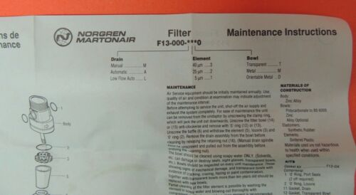 Norgren Olympian F13 Service Kit O-Rings /& Filter Element 2992-20 F13-00 NIB UK