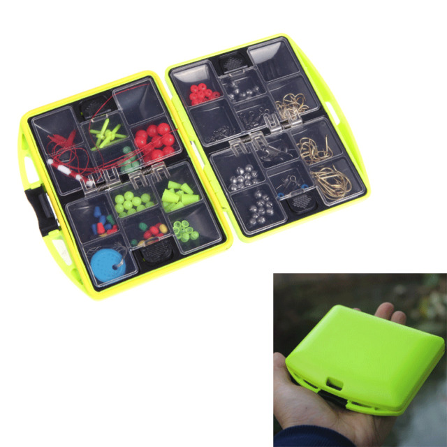 Fishing Tackle Box Loaded Hook Spoon Lure Sinker 24 Compartments