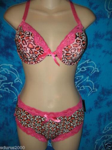 nwt Spree Bright Rockabilly Pink Leopard Print Lace Bra Boyshorts Panties 36D XL