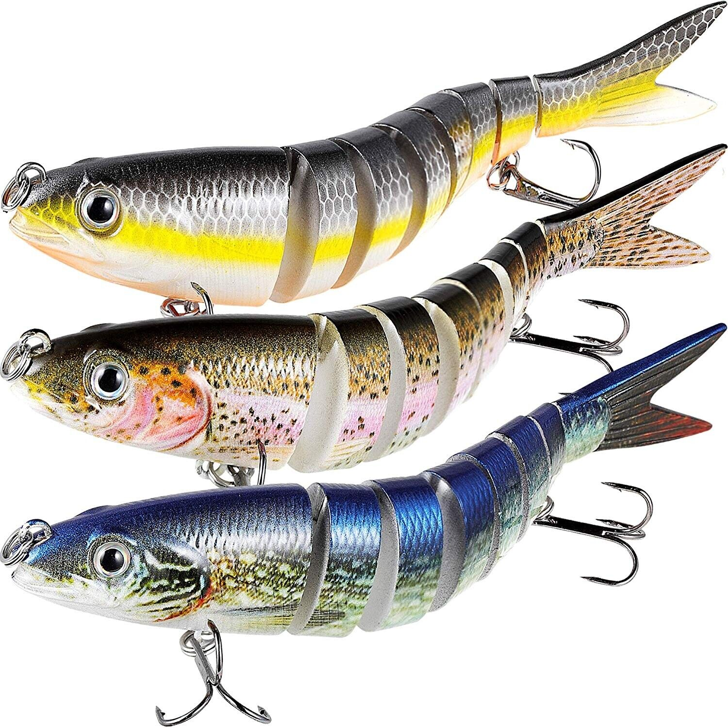 TRUSCEND Fishing Bass Lures Multi Jointed Topwater Life-Like Trout Swimbait