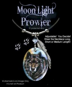 MOONLIGHT-PROWLER-WOLF-NECKLACE-MOON-DOG-ART-WOLVES-PENDANT-FREE-SHIP-Lth-039