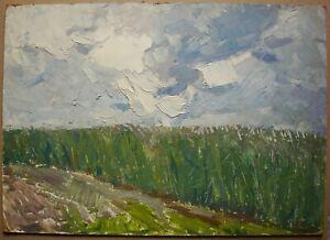 Russian Ukrainian Soviet Oil Painting impressionism landscape sky clouds field