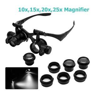 LED-Loupe-8-Lens-10X-15X-20X-25X-Lunette-Monture-Lampe-Horloger-Outil-Reparation