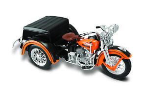 Harley-Davidson-1947-Servi-Car-Negro-Naranja-1-18-Maisto-Modelo-Die-Cast