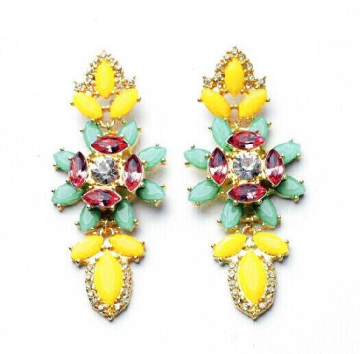 Hot Elegant Bright Resin Leaf Rhinestone Flower Statement Dangle Stud Earring