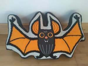 "Halloween Black & Orange Bat Shaped Throw Pillow 18"" x 11"""