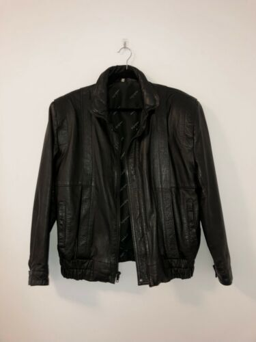 YVES SAINT LAURENT 80s vintage black genuine leath
