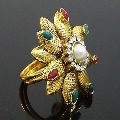 Traditional Indian Jewellery Gold Tone Adjustable Kundan Ring Wedding Jewellery