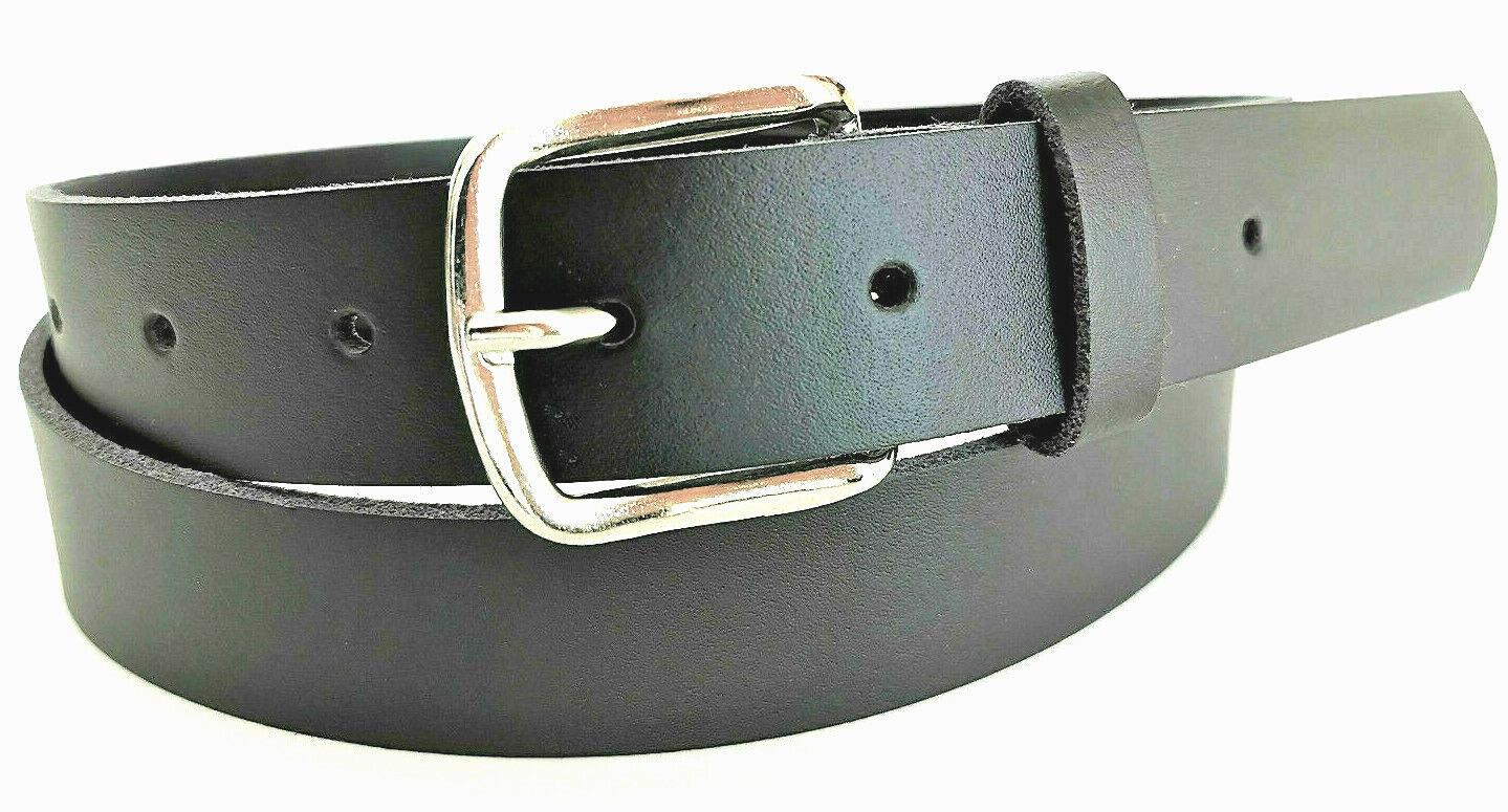 Ledergürtel schwarz 3 cm Damen Herrengürtel Gürtel 75 - 200 cm Überlänge 3cm