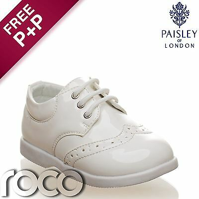 Baby Boys White Brogue Patent Lace Up Formal Shoes Flexible Sole for Comfort 1-8