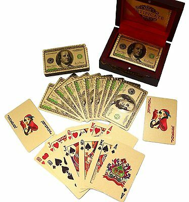 Trademark Poker 24k Gold Playing Cards-Bridge Size-Wooden Box-New Model