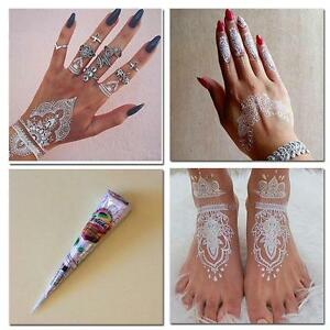 Natural-Herbal-Henna-Cones-Temporary-Tattoo-kit-White-Body-Art-Paint-Mehand-0T