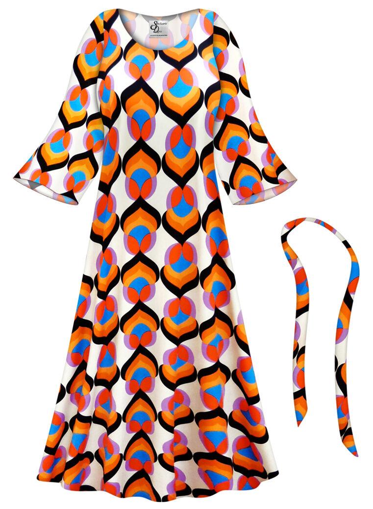 Lotus Print Hippie PLUS Größe Dress Hippy Halloween Costume 0x to 9x