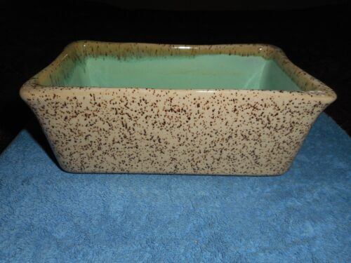 VINTAGE GLIDDEN POTTERY PLANTER #1006 MID CENTURY TURQUOISE & COFFEE SPECKLE BOX
