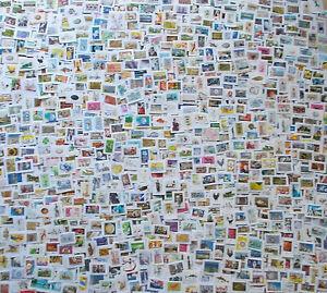 vrac 1200 Timbres oblitérés différents grand formats sur fragment