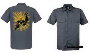Maglietta-Worker-grigio-con-un-Animale-amp-Motivo-Natura-Modello-Teschio-Sunset