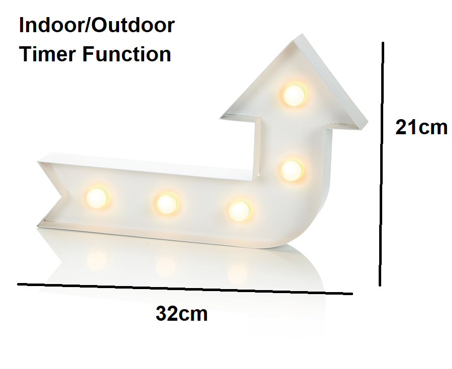Image 1 - LIT-Battery-MARQUEE-Arrow-Sign-LED-Wall-Wall-Lamp-Fitting-Metal-Frame-BL161056