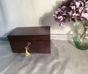 Antique-Mid-Victorian-Rosewood-Veneered-Box-with-Working-Lock-and-Key-C1860
