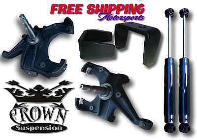 """Crown Suspension 73-87 C10 1.25"""" Rotor 3-5"""" Lowering Drop Spindle Flip Shock 12"""
