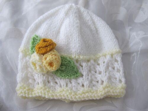 HAND KNITTED BABY GIRL  BEANIE HAT WHITE LACY LEMON FLOWER SIZES NB 24 MTHS NEW