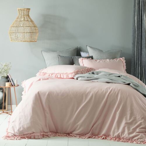 SINGLE DOUBLE QUEEN KING Super King Maison Blush Ruffled Quilt Cover Set