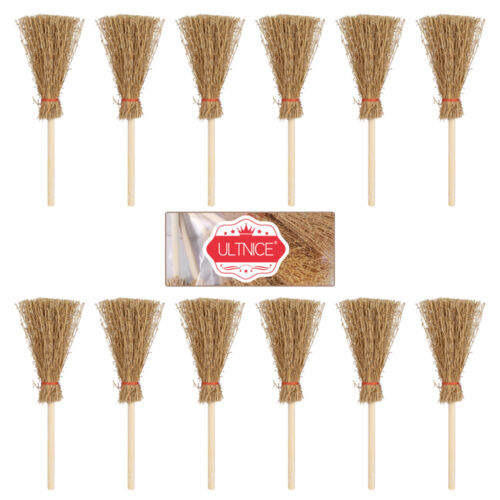12Pcs Mini Broom Cosplay Hangings Decorations for Costume Party Supplies