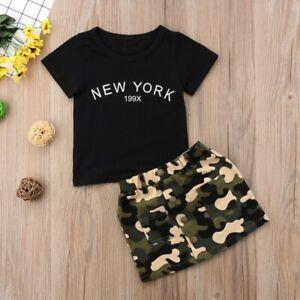 ec4752f6d647 2Pcs Kids Baby Girls Short Sleeve T-shirt Tops+Camo Skirt Summer ...