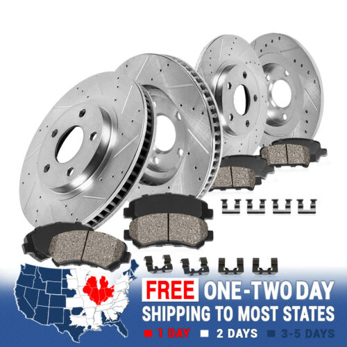For Jeep Grand Cherokee Durango Front+Rear Drill Slot Brake Rotors Ceramic Pads