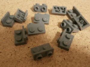 LEGO-Vrac-City-12-x-Support-Gris-1-x-2-melange-Dark-Bluish-Grey-Bracket-Neuf