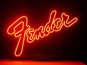 "New Red Fender Guitar Beer Bar Poster Beer Light Lamp Neon Sign 17"""