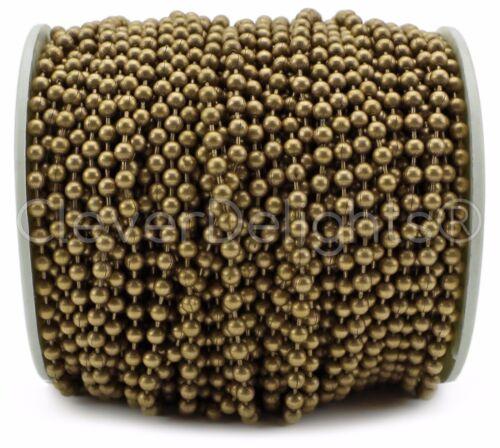 30 Feet 3.2mm Ball #6 Antique Bronze Color Ball Chain Spool Bulk Pack