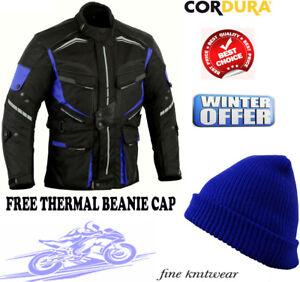 Bleu-Vitesse-Vagues-Ce-Protection-Hommes-Moto-Veste-Moto-Textile-Revetement