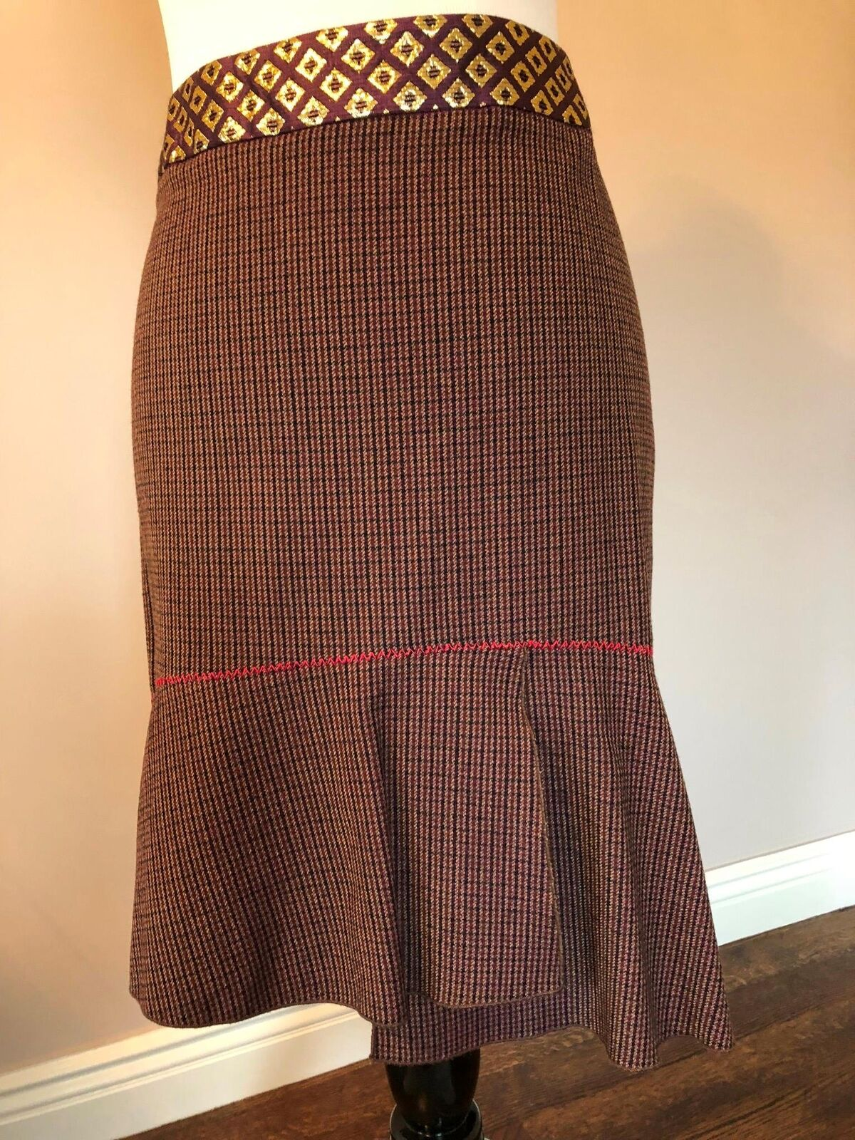 NWOT blueMARINE gold Trimmed Wool Tramped Skirt SZ IT 46 US 12 Made in