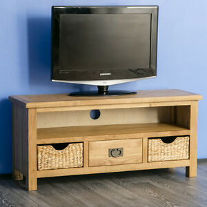 Surrey Oak Tv Stand With Storage Baskets Waxed Solid Wood Tv Stand