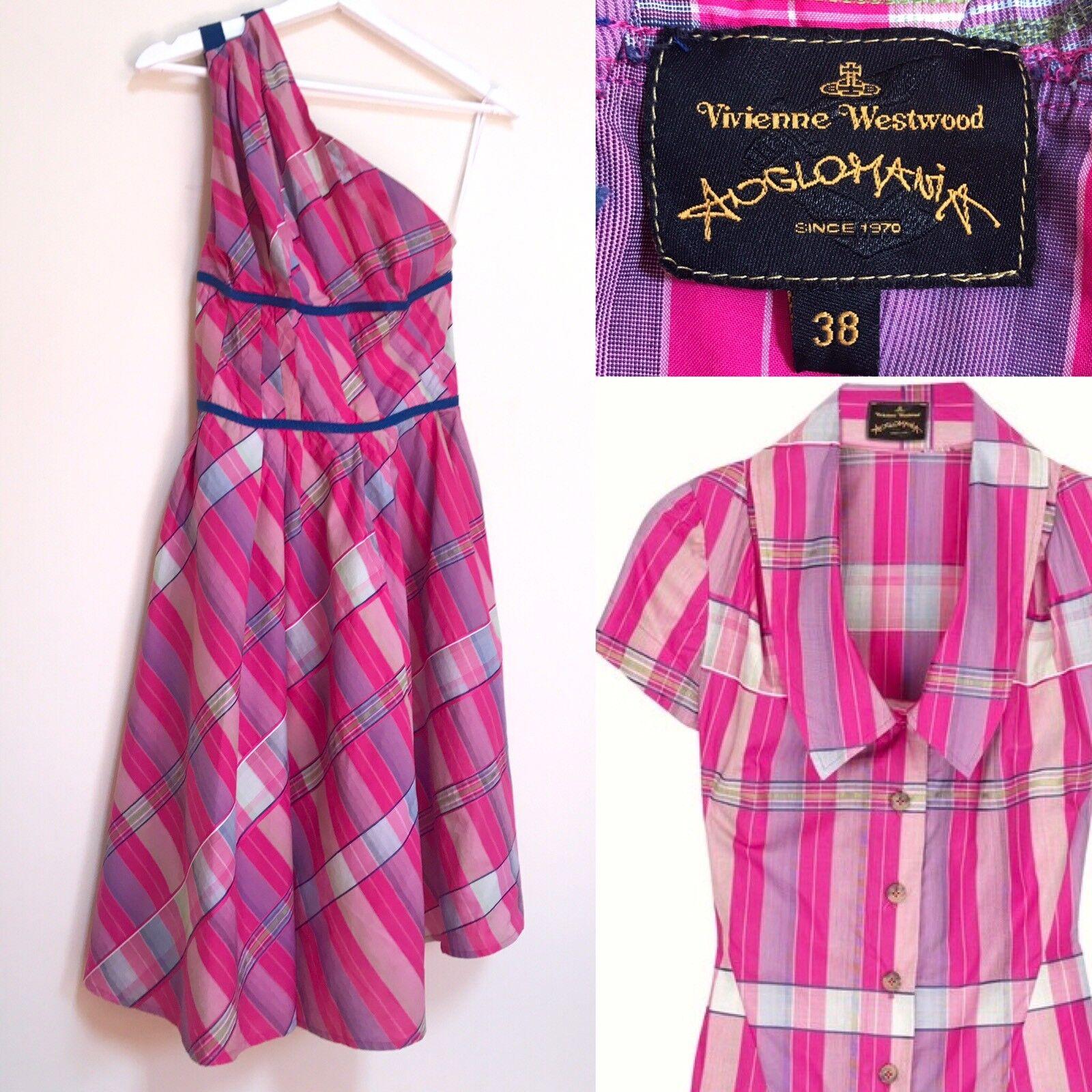 VIVIENNE WESTbois robe Anglohommeia voiturereaux roses coton une épaule asymétrique XS
