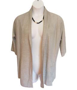 Open-Front-Cardigan-Sweater-Size-1X-18W-20W-Light-Knit-Gray-Lane-Bryant-Flaw
