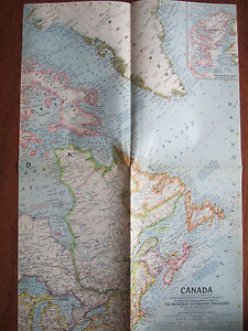 Vintage 1961 National Geographic Map of Canada