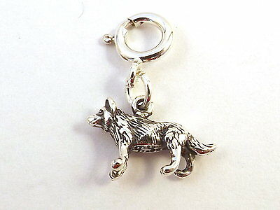 Sterling Silver Wolf Charm on Spring Ring-Fits European and Link Bracelet 2222