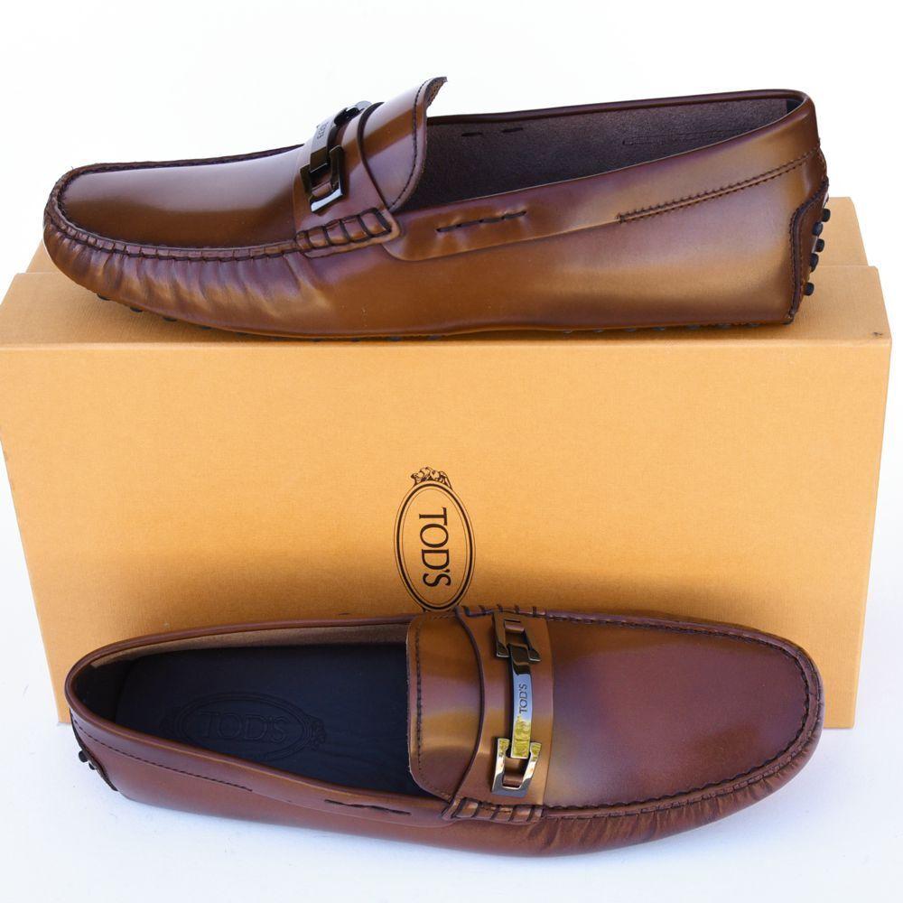 TOD Tods Nouveau Tailles UK 11.5 - US 12.5 Designer Homme Pilotes Mocassins Chaussures Marron