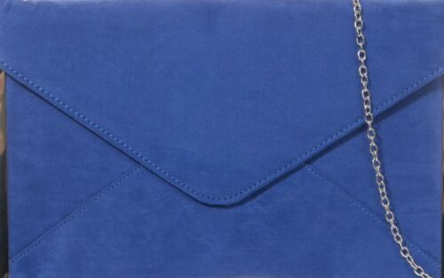 Blue Clutch Bag Faux Suede Evening Bag Slim Silver Tone Envelope Shoulder Bag