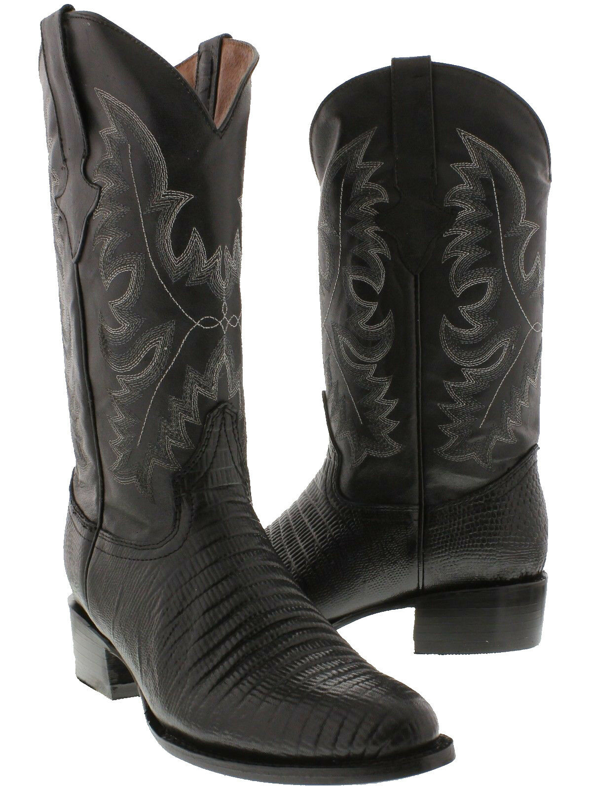Mens Black Lizard Print Western Wear Cowboy Leather Exotic Riding Round Boots